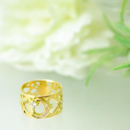 リング ゴールド ダイヤモンド 月 星